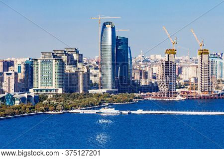 Baku Aerial Panoramic View From The Martyrs Lane Viewpoint, Which Located In The Center Of Baku, Aze