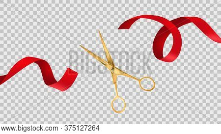 Gold Scissors Cut Red Ribbon. Grand Opening Ceremony, Ceremonial Celebration, Big Official Open, New