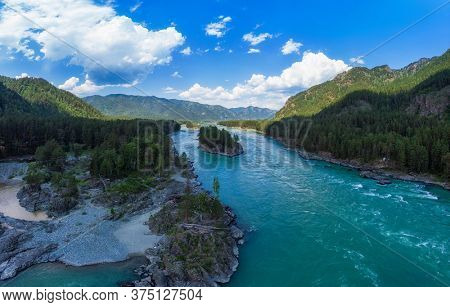 Aerial view of Katun river, in summer morning in Altai mountains, drone shot