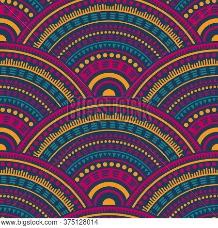 African Geometric Shapes Fabric Print Vector Seamless Pattern. Ethnic Motifs Wavy Repeating Illustra