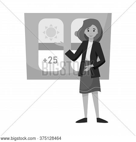 Isolated Object Of Anchorman And Weather Sign. Graphic Of Anchorman And News Stock Vector Illustrati
