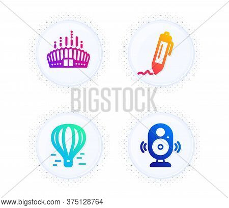 Arena Stadium, Air Balloon And Signature Icons Simple Set. Button With Halftone Dots. Speaker Sign.