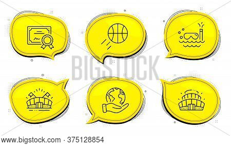 Arena Stadium Sign. Diploma Certificate, Save Planet Chat Bubbles. Scuba Diving, Basketball And Spor