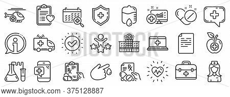 Hospital Assistance, Ambulance, Health Food Diet, Laboratory Tubes Icons. Medical Rx Line Icons. Fir