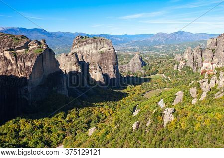 Meteora - Is A Formation Of Immense Monolithic Pillars And Hills Like Huge Rounded Boulders Which Do