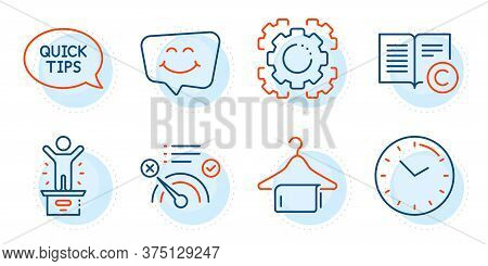 Smile Chat, Copyright And Time Signs. Winner Podium, No Internet And Seo Gear Line Icons Set. Quicks