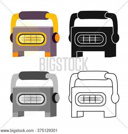 Vector Design Of Projector And Floodlight Sign. Graphic Of Projector And Gallery Stock Symbol For We