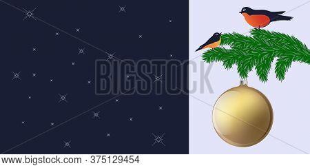 Fir Tree Branch, Bullfinches, Christmas Ball, Shiny, - Dark Blue Background - Vector. Banner. Christ