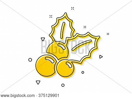 Ilex Aquifolium Sign. Christmas Holly Icon. Yellow Circles Pattern. Classic Christmas Holly Icon. Ge