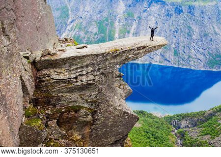 Trolltunga Or Troll Tongue Is A Rock Formation At The Hardangerfjord Near Odda Town In Hordaland, No