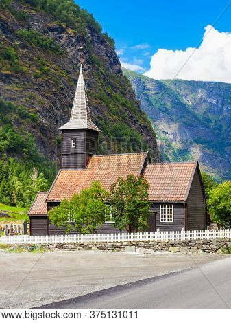 Flam Church Or Flam Kyrkje Is A Parish Church In Flam, Sognefjord In Norway