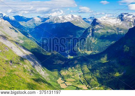 Geirangerfjord Mountains Aerial View From Dalsnibba Viewpoint, Located Near The Geiranger Village, N