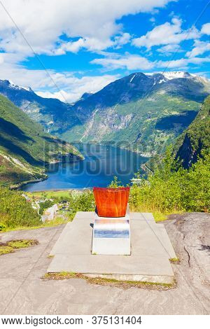 Queen Sonja Of Norway Throne At Flydalsjuvet Viewpoint At Geirangerfjord Near Geiranger Village In N