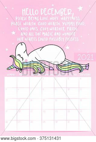 2021 December Calendar With Calligraphy Phrase And Unicorn Doodle: