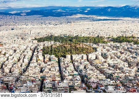 Athens Aerial Panoramic View From The Mount Lycabettus In Athens, Greece