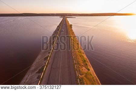 Aerial Panoramic View To Old Road On Dam At Severskiy Donets River, Pechenegi Reservoir, Ukraine