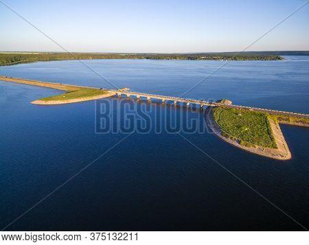 Aerial View To Bridge On Wide River At Sunset, Pechenegi Reservoir, Severskiy Donets River, Ukraine