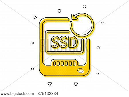 Backup Data Sign. Recovery Ssd Icon. Restore Information Symbol. Yellow Circles Pattern. Classic Rec