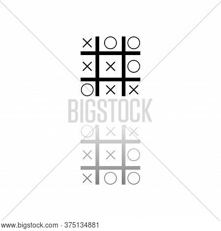 Tic Tac Toe Game. Black Symbol On White Background. Simple Illustration. Flat Vector Icon. Mirror Re