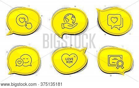 Like Button Sign. Diploma Certificate, Save Planet Chat Bubbles. Love Him, Dating And Heart Line Ico