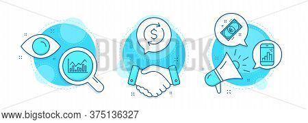 Euro Money, Infochart And Graph Phone Line Icons Set. Handshake Deal, Research And Promotion Complex