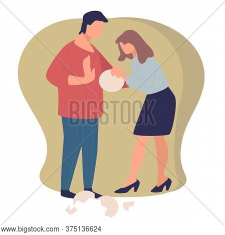 Quarreling Couple, Wife And Husband Breaking Dishes Vector