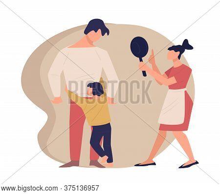 Parents Quarreling Before Child, Crying Kid Hugging Dad