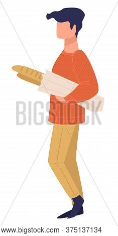 Male Character Carrying French Baguette, Shopping Man Vector