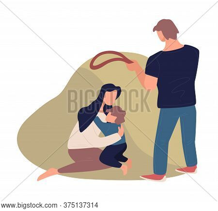 Husband Beating Mom And Child, Domestic Violence And Aggression