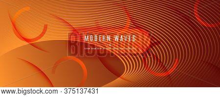 Vector Fluid Flow. Orange Dynamic Wallpaper. 3d Abstract Line. Technology Brochure. Yellow Fluid Flo