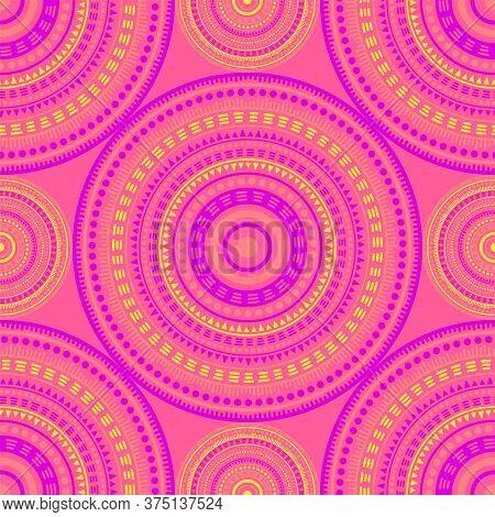 Islamic Vintage Motifs Seamless Pattern. Circle Medallion Mandala Geometric Tiles. Textile Print Tem