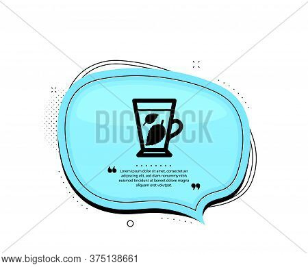 Mint Tea Icon. Quote Speech Bubble. Fresh Herbal Beverage Sign. Mentha Leaves Symbol. Quotation Mark