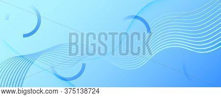 Blue Gradient Background. 3d Fluid Lines Poster. Curve Minimal Landing Page. Light Dynamic Magazine.
