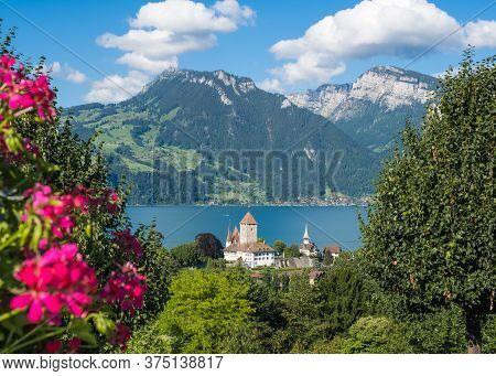View Of The Spiez Castle At The Lake Thun In Spiez In The Bernese Oberland, Switzerland