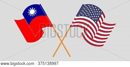Crossed And Waving Flags Of Taiwan And The Usa. Vector Illustration