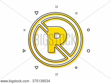 Car Park Not Allowed Sign. No Parking Icon. Transport Garage Symbol. Yellow Circles Pattern. Classic