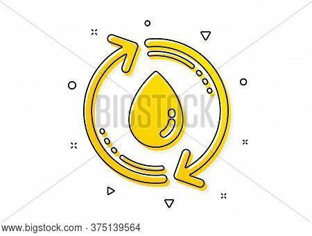 Recycle Clean Aqua Sign. Water Drop Icon. Refill Liquid Symbol. Yellow Circles Pattern. Classic Refi