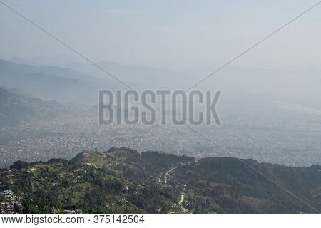 View Over Pokhara City And Nearby Mountains, Nepal From Sarangkot Hill, December 2019