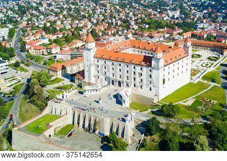 Bratislava, Slovakia - May 11, 2017: Bratislava Castle Or Bratislavsky Hrad Aerial Panoramic View. B
