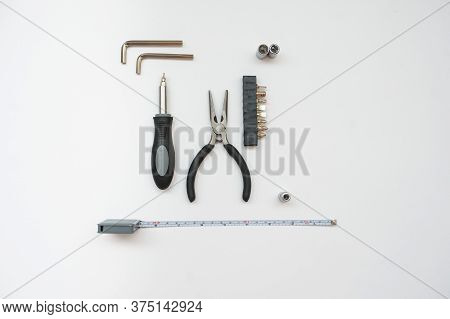 Some Of The Electrician's Equipment, White Background