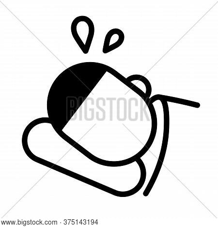 Young Man Soaked In Sweat Lying In His Bed. Minimal Black And White Outline Icon. Flat Vector Illust