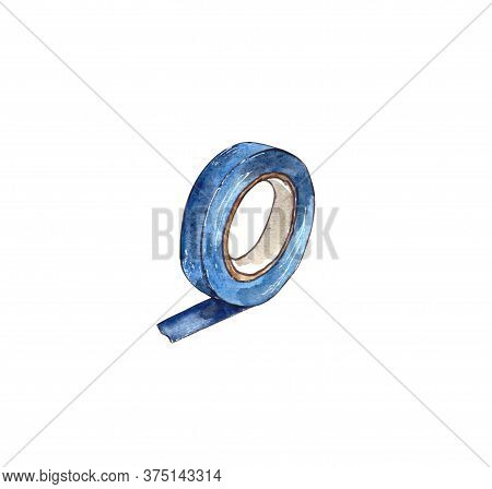 Watercolor Illustration.tools For Home Repair On The Inside, Insulating Tape. Isolated On A White Ba