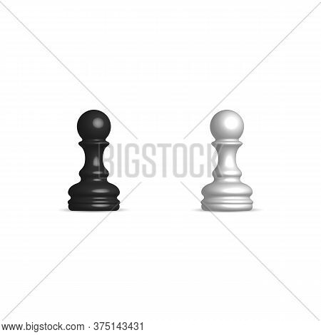 Photo Realistic Black And White Chess Piece Pawn. Front View, Vector Illustration.