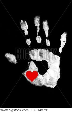 White Handprint With Red Heart On A Black Background.together. Palm Print As A Symbol Of Racial Equa