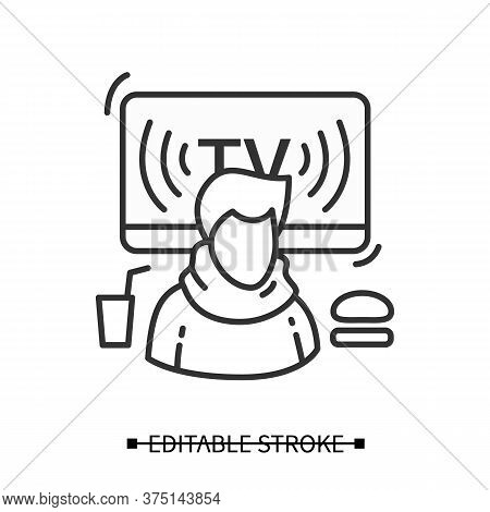 Eating Disorder Icon. Line Pictogram Of Person With Fast Food And Tv News Broadcast. Information Med