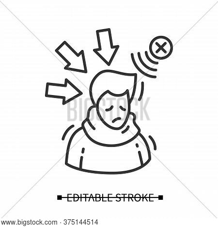 Negative Influence Icon. Simple Linear Pictogram Of Person Depressed And Upset With Negative Media I