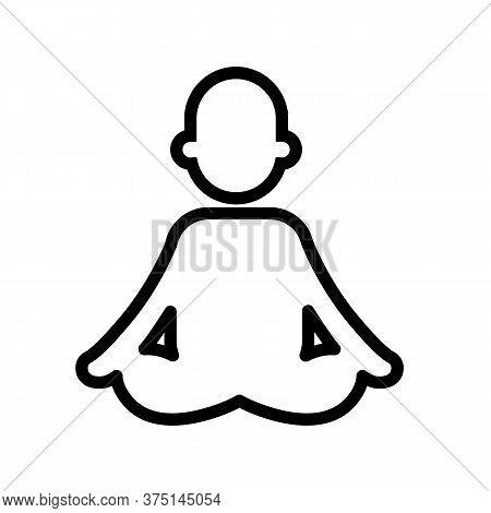 Meditating Person, Meditation, Yoga. Minimal Black And White Outline Icon. Flat Vector Illustration.