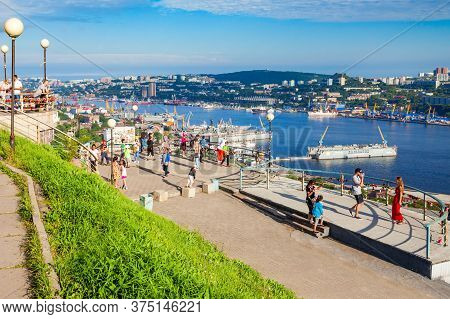 Vladivostok, Russia - July 17, 2016: Eagle Nest Mount Viewpoint In Vladivostok City, Russia