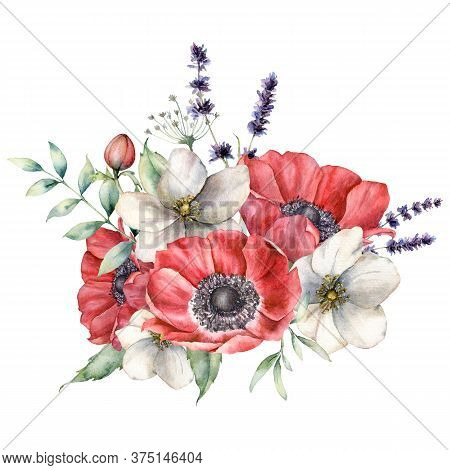 Watercolor Wildflowers Bouquet With Anemones And Lavender. Hand Painted Red And White Flowers, Eucal
