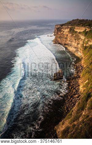 Wavy Ocean Panorama As Seen From The Uluwatu Temple, Bali, Indonesia